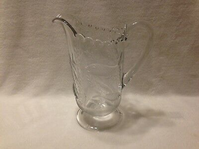 Antique Crystal Pitcher With Swimming Fish Theme - Rare - Old