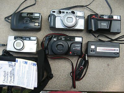 Lot of 7 35mm Film Cameras Vintage? Smart Shot Discovery One Touch Zoom Image