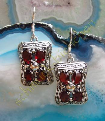 Earrings Victorian Style Garnet Red Stone of January Sterling Silver 925