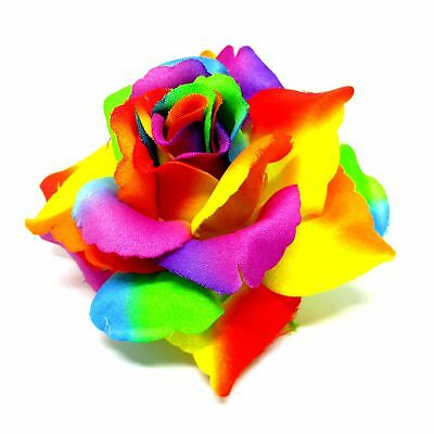 "2X BIG Rainbow Roses Artificial Silk Flower Heads 3.75"" for Wedding Hair clip"