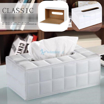 PU Leather Tissue Box Cover Paper Home Room Paper Napkin Holder Case AU STOCK