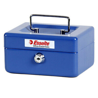 Esselte Cash/Money Box/Tin No6 Steel Blue Petty Cash/Till w/ Handle/Lock/Tray