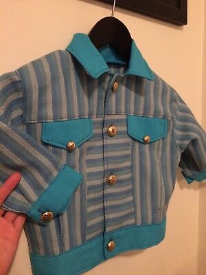 Boy girl vintage jacket tweed coat top striped blue retro 3 4 gold 70s 60s