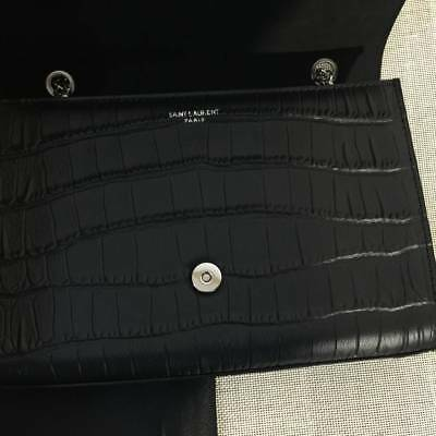 Authentic SAINT LAURENT Black Leather YSL Shoulder Bag