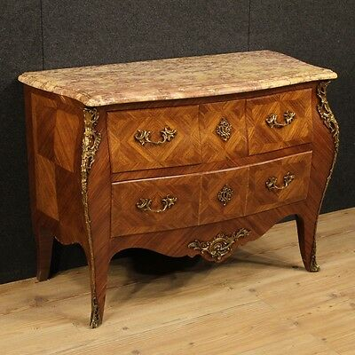 dresser inlaid dresser antique style louis XV chest of drawers wood level marble