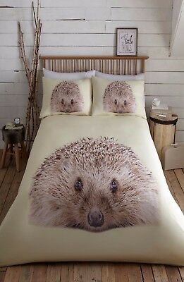 Double Bed Duvet Cover Set Prickly Hedgehog Cute Animal Print 100% Polyester