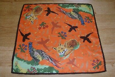 """Hand made Macclesfield silk square 16"""" hand rolled orange countryside design"""