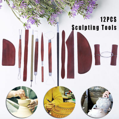 12pcs Wood Clay Sculpting Set Wax Carving Pottery Tools Shapers Polymer Modeling