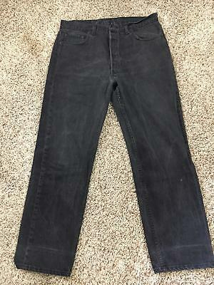 501 Levi Denim JEANS BLACK PANTS LOOSE STRAIGHT RELAXED DISTRESSED Size 36X30