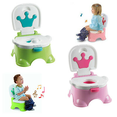 3 in 1 Baby Toddler Toilet Trainer Safety Green Music Potty Training Seat Green