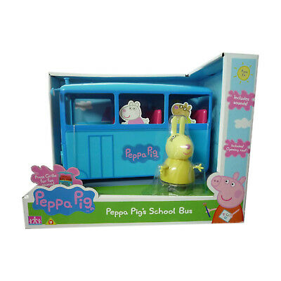 Peppa Pig's Large School Bus Toy With Sound & Miss Rabbit Figure New Boxed