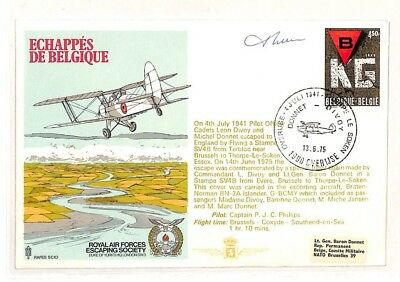 AH185 1975 Belgium RAF Escaping Society Signed Cover PTS