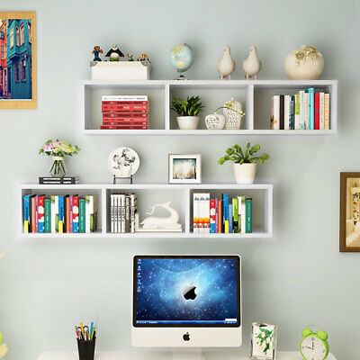 2×White Floating Bookcase 3 Cubes Wall Mounted Display Shelf for CD Book Storage