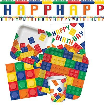 BUILDING BLOCKS Birthday Party Theme Lego Fun Tableware Decorations Favour Sets