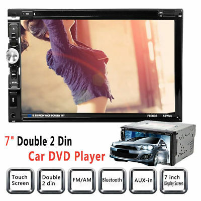 "Double DIN7"" In dash Car Stereo Radio CD DVD Player FM/USB/SD Bluetooth MP3 UK"