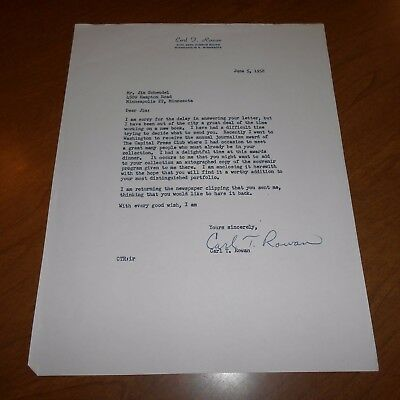 Carl T. Rowan was an American government official Hand Signed 1958 Letter