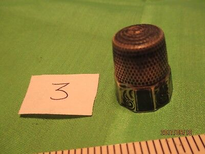 """#3 Vintage Fancy Sterling Silver Thimble Size 11 """"S"""" in Shield Mark"""