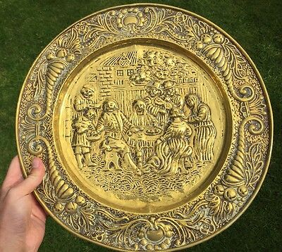 Antique Brass Vintage Dinner Lunch Meal Scene Wall Plate