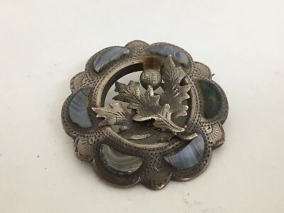 Highly Collectable Victorian Silver ,agate Brooch Pin Scottish Thistle Design