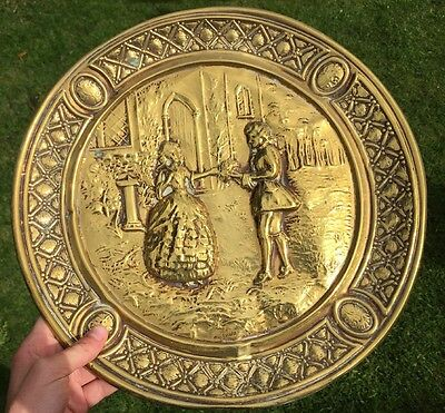 Antique Arts And Crafts Brass Love Romance Scene Wall Plate