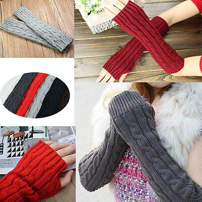 Womens Warm Winter Gloves Wrist Arm Hand Knitted Long Fingerless Gloves Mittens
