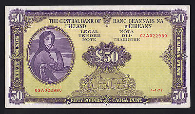 IRELAND P-68c. 1977 Fifty Pounds.. Lady Lavery.. aEF - Crisp