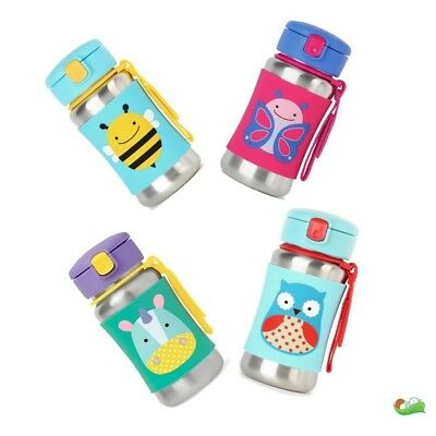 Skip Hop Zoo Stainless Steel Bottle. With a grab-me strap and a pop-up lid.