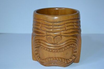 Old African Carved Wooden Cup With Tribal Face Design
