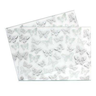Set of 2 Mirror Glass Silver Butterfly Glitter Square Placemat Kitchen Table Mat