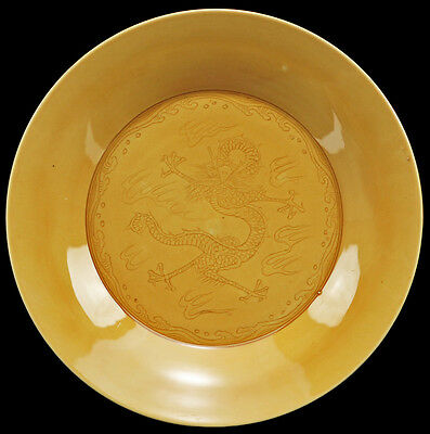 CHINESE 1900s Imperial Yellow Porcelain Flaming Dragon Incised Scene Dish Plate