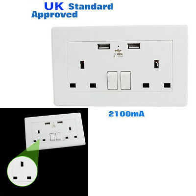 Double -One Gang Electrical Plug Socket 13A With 2 USB Outlets Wall Faceplate