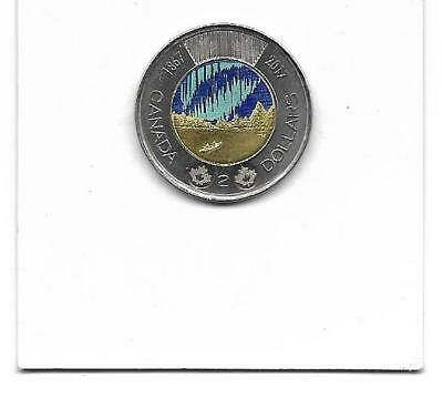 Canada 1867 - 2017 Toonie Two Dollar Canadian $2 Colour Shifted ERROR Coin