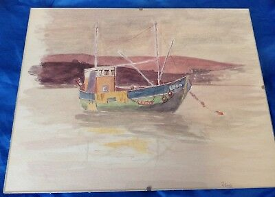 Vintage Framed Watercolour Painting Of A Fishing Boat Trawler - Signed