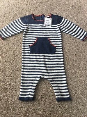 Next Baby Boys Knitted Romper Suit Striped Cute 0-3 Gift