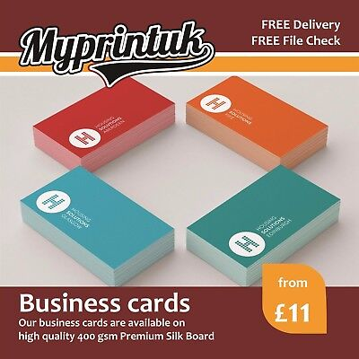 Business Cards Printed On 350 or 400gsm Premium Silk ~ Full Colour ~ FROM £11