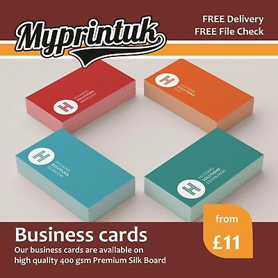 Business Cards Printed On 400gsm Premium Silk ~ Full Colour ~ FROM £11
