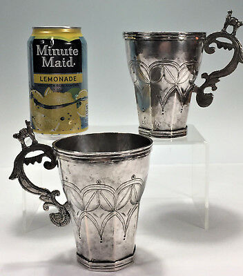 Pair 19c South American Spanish Colonial Silver Cups Tankards Bolivia Peru 446g