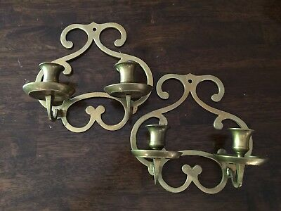 Set of Antique Brass Candlestick sconces made in India- used