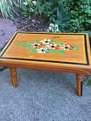 Vintage 1962 Ebersol Hand Painted Wooden Floral Foot Stool Folk Art Wood