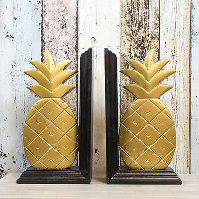 Black Gold Wooden Pineapple Bookends Book Shelf Storage Item Home Decor Object