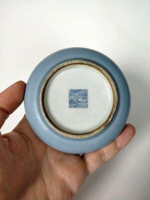 Antique Chinese Blue Glaze Monochrome Porcelain Brush Washer Qianlong Mark