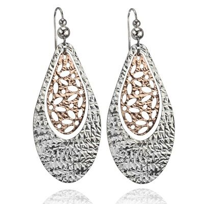 Cloelle Sterling Silver and Rose Gold Plated Filigree Dangle Earrings, Italy