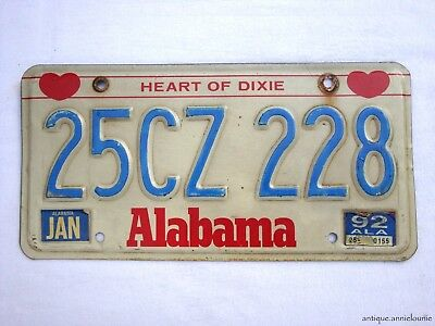 1992 ALABAMA CULLMAN COUNTY Vintage License Plate # 25CZ 228