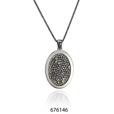 "Cloelle Sterling Silver Ruthenium & Swarovski Crystal Oval Pendant 18"" Necklace"