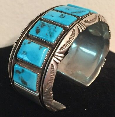 Heavy Native American Navajo Sterling Silver Turquoise Cuff Bracelet R Touchine