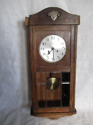 Rare Vintage Haller A.G. Wall Clock w/ Mezzo Gong Chime !FOR PARTS NOT WORKING!