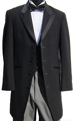High Quality Very Long Black Tuxedo Jacket Frock Coat Western Duster Steampunk