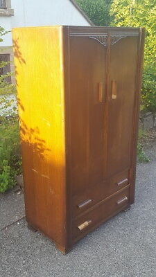 A Vintage Austinsuite Fitted Gentleman's Wardrobe Great Size & Shape Needs TLC