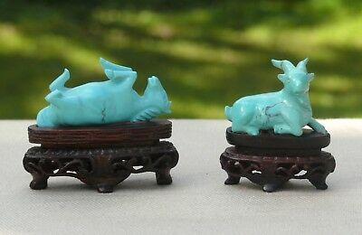 Two Carved Chinese Turquoise Miniature Figures with Stands, 19th/20th Century