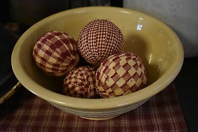 New Set Of 6 2.5 Inch Primitive Country Rag Balls Home Decor